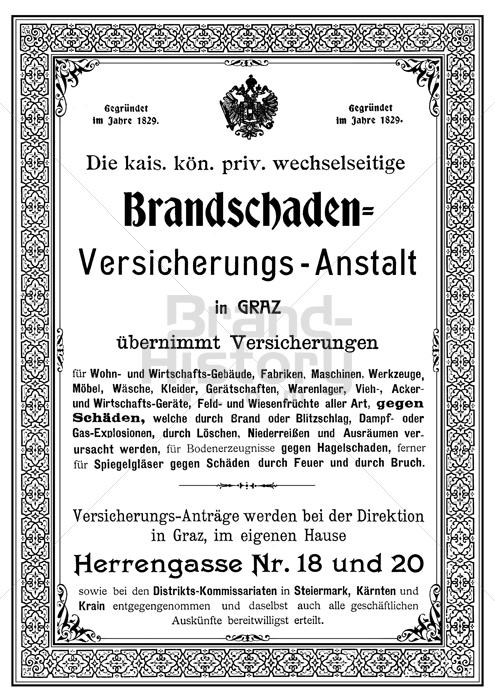 K. k. priv. Brandschaden-Versicherungs-Anstalt in GRAZ - Gegründet ...