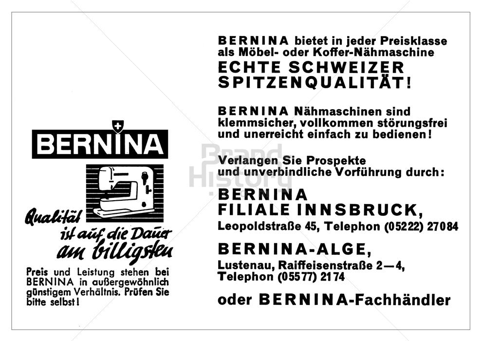 Bernina Bernina Qualität Ist Auf Die Dauer Am Billigsten