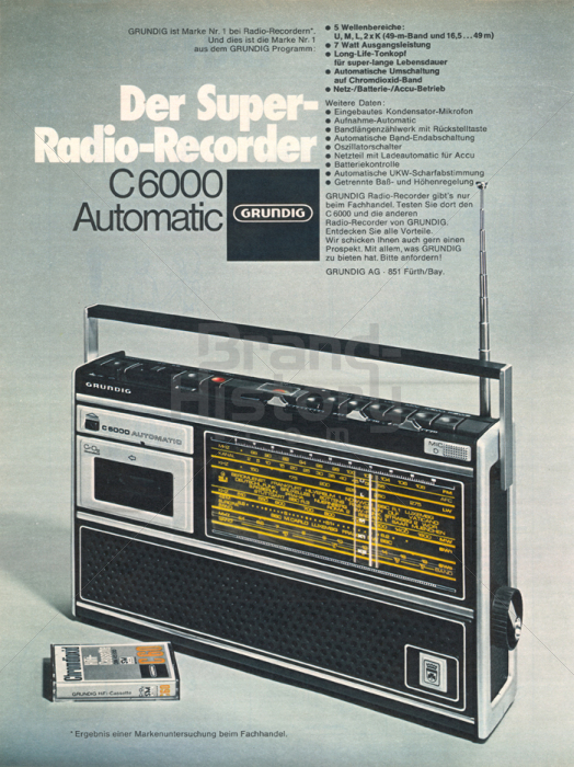grundig c 6000 der super radio recorder brand history. Black Bedroom Furniture Sets. Home Design Ideas