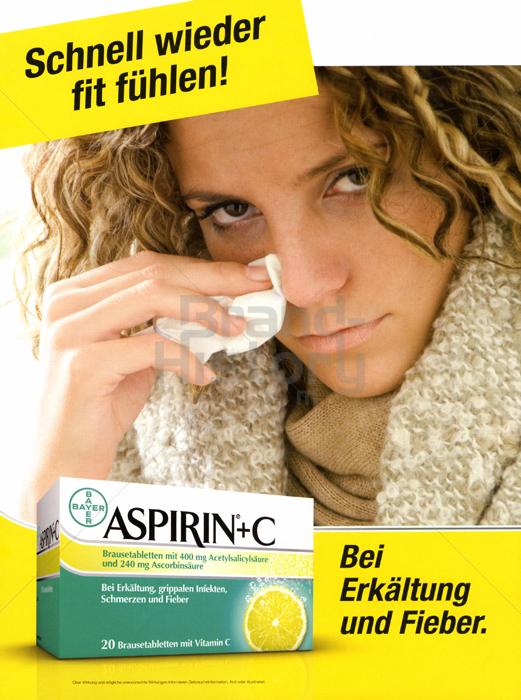 aspirin aspirin c bei erk ltung und fieber schnell wied werbeslogans claims und. Black Bedroom Furniture Sets. Home Design Ideas