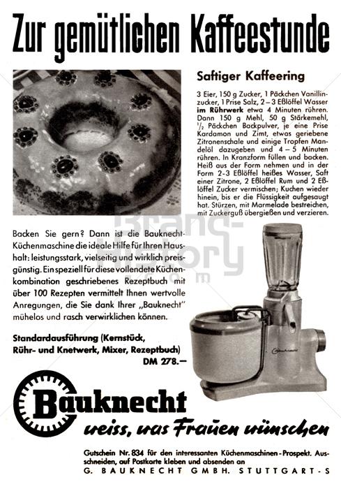 bauknecht zur gem tlichen kaffeestunde bauknecht weiss was frauen w nschen brand history. Black Bedroom Furniture Sets. Home Design Ideas