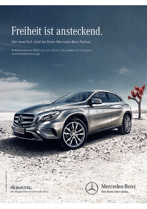 Mercedes benz freiheit ist ansteckend der neue gla for Mercedes benz slogan